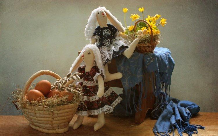 цветы, игрушки, пасха, яйца, зайцы, корзинка, верба, flowers, toys, easter, eggs, rabbits, basket, verba