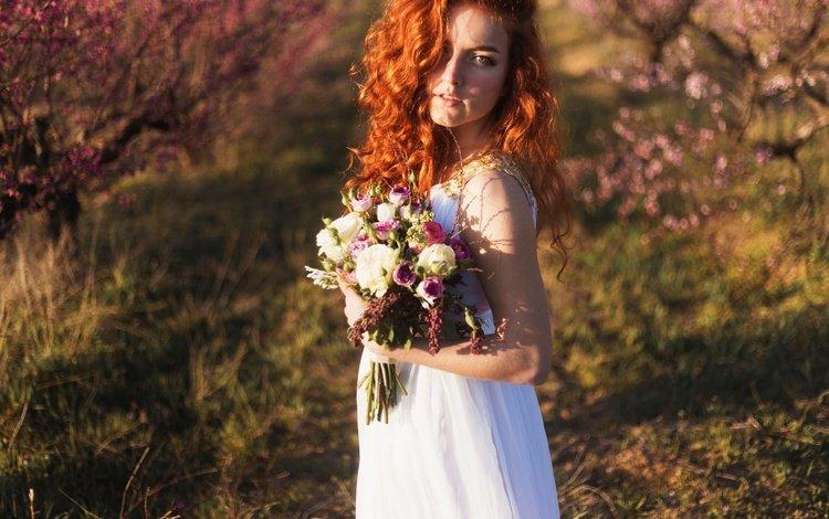 girl, dress, look, hair, bouquet, the bride, redhead