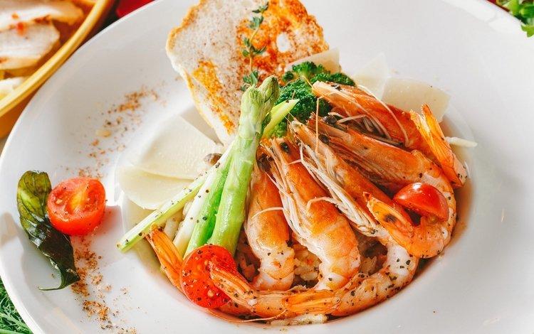 помидор, морепродукты, блюдо, креветки, спаржа, tomato, seafood, dish, shrimp, asparagus
