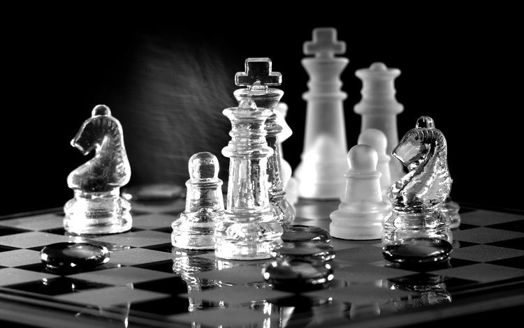 reflection, chess, board, black and white, figure, the game