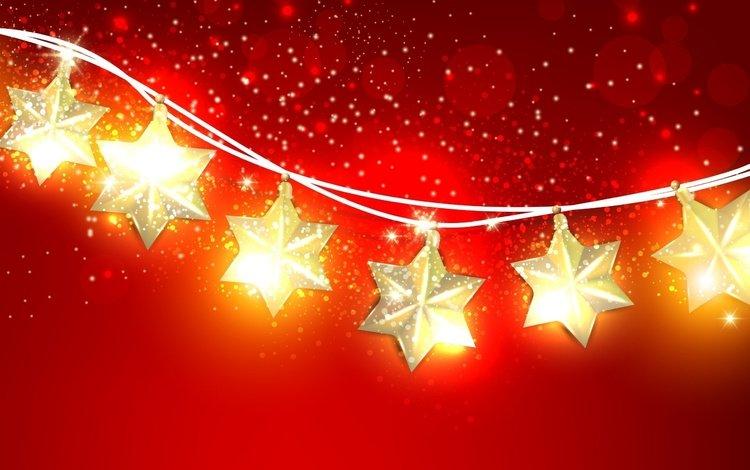 звезды, праздник, рождество, гирлянда, красный фон, stars, holiday, christmas, garland, red background