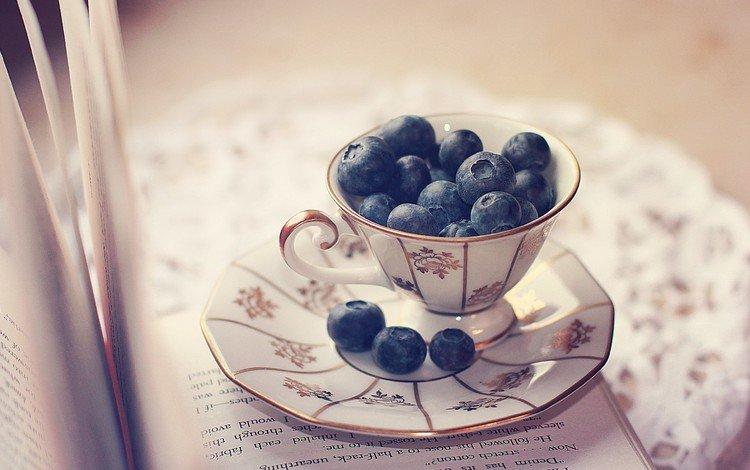блюдце, ягоды, чашка, черника, салфетка, книга, страницы, saucer, berries, cup, blueberries, napkin, book, page