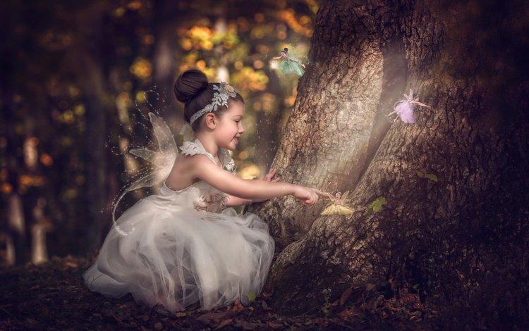 деревья, крылышки, лес, платье, девочка, фея, ребенок, наряд, сказка, trees, wings, forest, dress, girl, fairy, child, outfit, tale