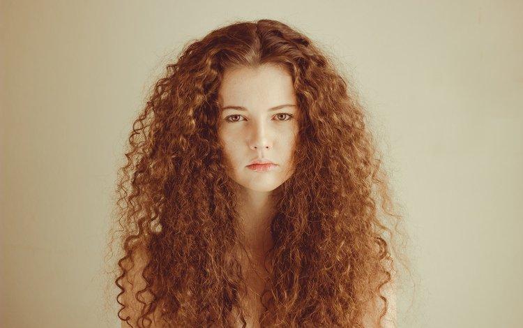 девушка, взгляд, кудри, волосы, губы, girl, look, curls, hair, lips