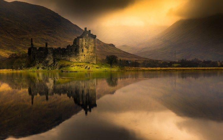 горы, отражение, туман, замок, водоем, шотландия, лох-эйв, замок килчурн, mountains, reflection, fog, castle, pond, scotland, loch awe, castle kilchurn