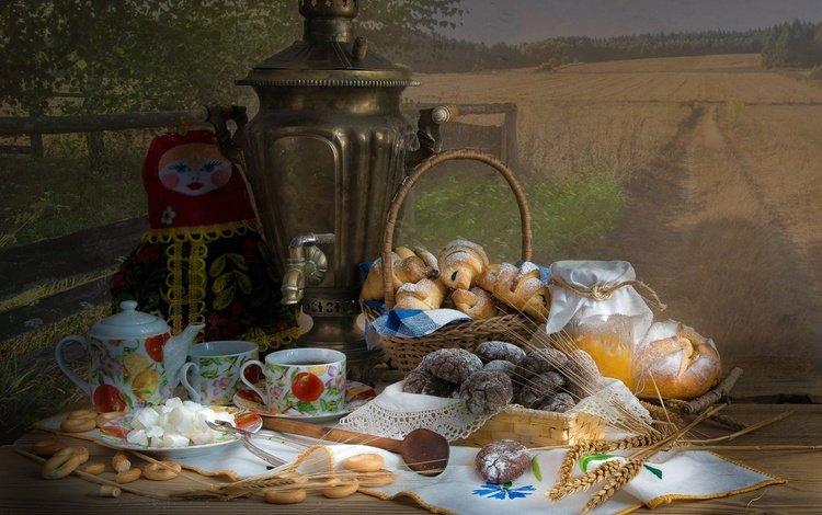 кукла, печенье, колосья, выпечка, хлеб, булочки, корзина, самовар, чай, баранки, салфетка, мед, банка, doll, cookies, ears, cakes, bread, buns, basket, samovar, tea, bagels, napkin, honey, bank