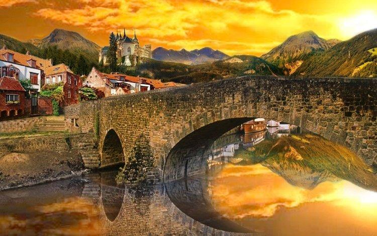 небо, alexyamato, река, горы, отражение, мост, замок, швейцария, городок, the sky, river, mountains, reflection, bridge, castle, switzerland, town