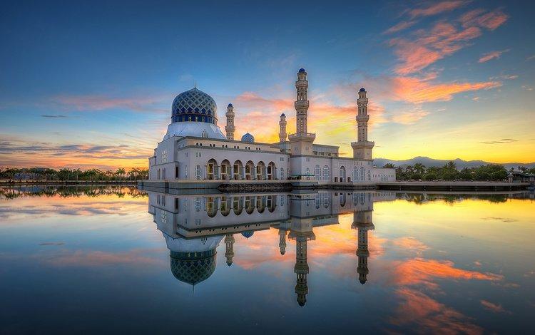 отражение, утро, мечеть, малайзия, кота-кинабалу, likas бэй, города кота-кинабалу мечеть, reflection, morning, mosque, malaysia, kota kinabalu, likas bay, kota kinabalu city mosque
