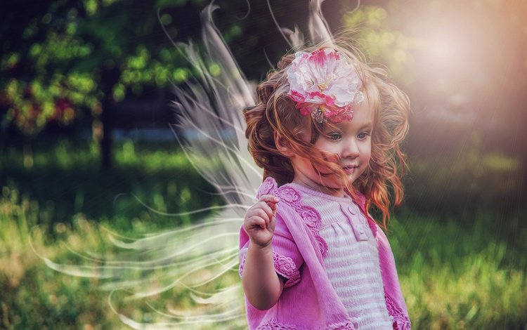 природа, цветок, девочка, ребенок, ветер, локоны, кофточка, крылышки, nature, flower, girl, child, the wind, curls, blouse, wings