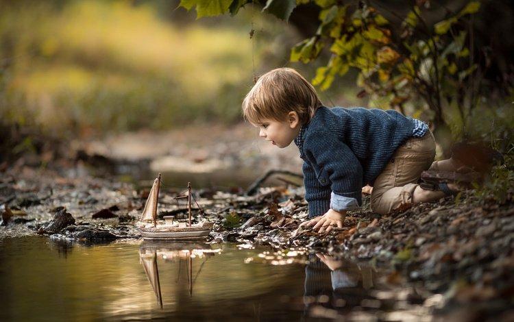 ручей, adrian c. murray, дети, волосы, лицо, ребенок, мальчик, малыш, кораблик, stream, children, hair, face, child, boy, baby, boat