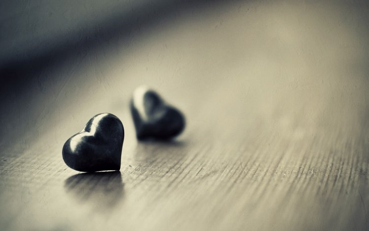 mood, macro, heart, hearts, black, two black hearts