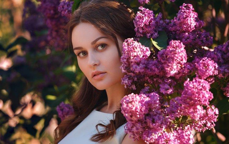 цветы, сирень, девушка, брюнетка, ветки, взгляд, весна, волосы, лицо, flowers, lilac, girl, brunette, branches, look, spring, hair, face