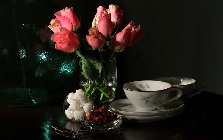 цветы, роза, букет, чашка, сахар, натюрморт, flowers, rose, bouquet, cup, sugar, still life
