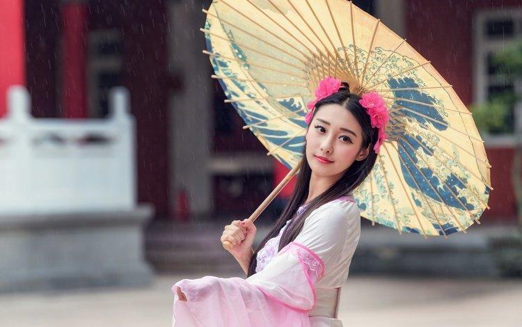 style, girl, mood, background, look, hair, face, umbrella, asian