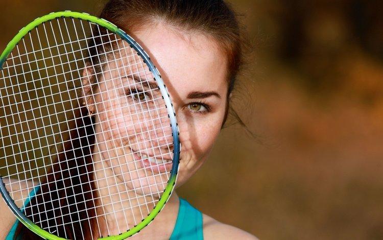 девушка, взгляд, модель, волосы, лицо, ракетка, stefany sonri, girl, look, model, hair, face, racket