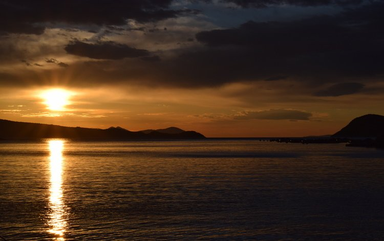 небо, облака, скалы, солнце, закат, море, the sky, clouds, rocks, the sun, sunset, sea
