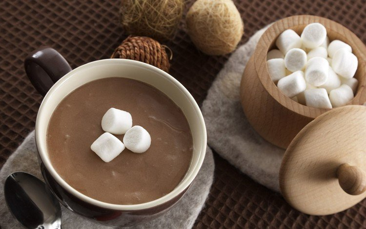 чашка, зефир, ложка, горячий шоколад, маршмеллоу, cup, marshmallows, spoon, hot chocolate