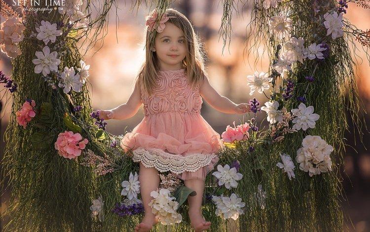 цветы, качели, трава, природа, дети, девочка, волосы, лицо, ребенок, flowers, swing, grass, nature, children, girl, hair, face, child