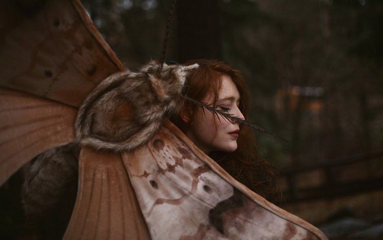 girl, redhead, closed eyes, aleah michele, words and moths, a giant moth