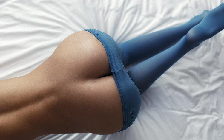 девушка, простынь, попа, шикарная попа, колготки, голая попа, булки, спина, ножки, синие, фигура, girl, sheets, ass, gorgeous ass, tights, bare butt, bread, back, legs, blue, figure