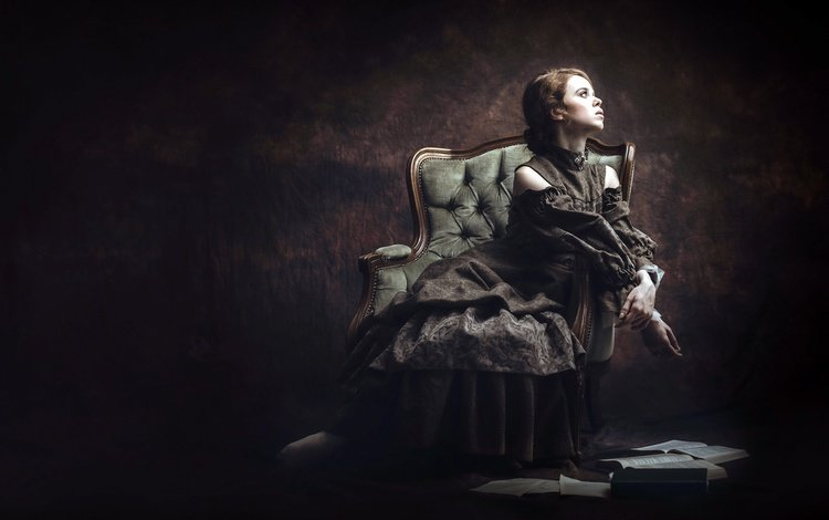 девушка, фон, платье, поза, профиль, кресло, sandra plajzer, girl, background, dress, pose, profile, chair