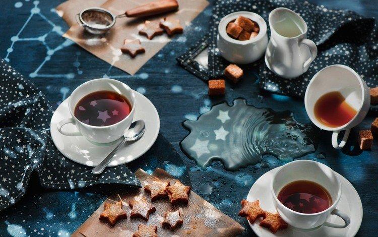 звезды, чай, чашки, сахар, печенье, выпечка, stars, tea, cup, sugar, cookies, cakes