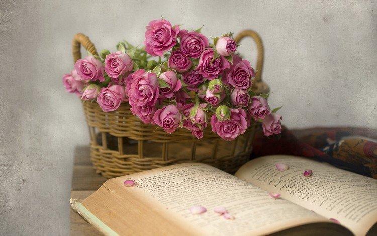 цветы, розы, лепестки, букет, корзина, книга, и книга, flowers, roses, petals, bouquet, basket, book, and the book