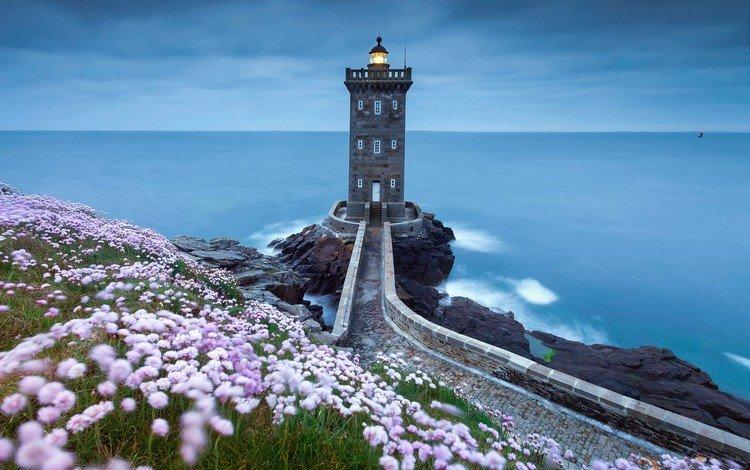 the sky, flowers, rocks, shore, sea, lighthouse, coast