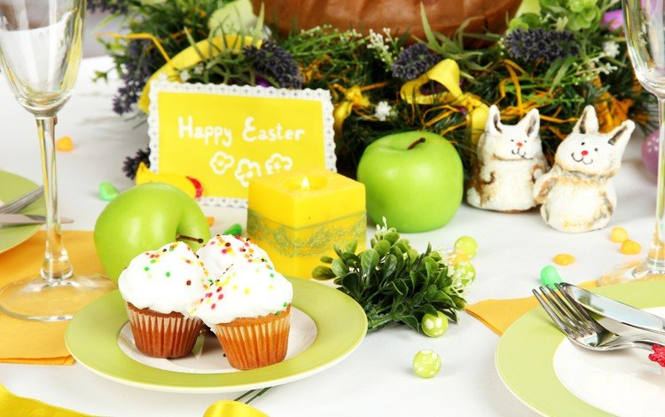 candles, apples, easter, eggs, glasses, holiday, cakes, still life, cupcakes, serving
