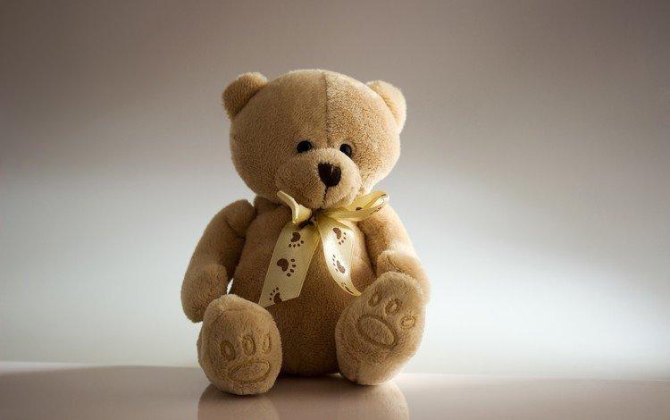 медведь, мишка, игрушка, сидит, плюшевый, бантик, медвежонок, bear, toy, sitting, plush, bow