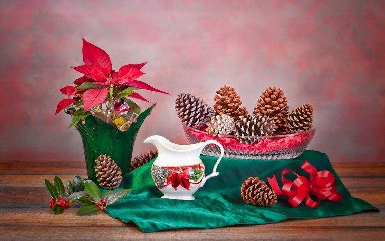 ткань, рождественская звезда, растение, ваза, шишки, кувшин, натюрморт, композиция, пуансеттия, fabric, christmas star, plant, vase, bumps, pitcher, still life, composition, poinsettia