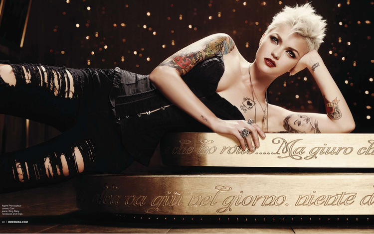 девушка, блондинка, тату, руби роуз, girl, blonde, tattoo, ruby rose