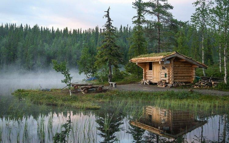 озеро, лес, отражение, норвегия, избушка, lake, forest, reflection, norway, hut
