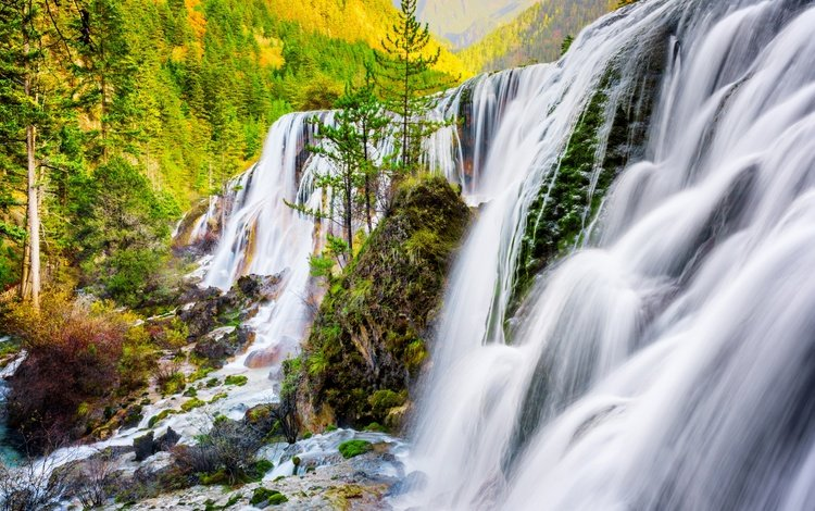 река, природа, водопад, осень, китай, river, nature, waterfall, autumn, china