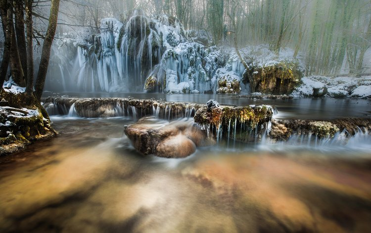 река, природа, лес, зима, водопад, river, nature, forest, winter, waterfall