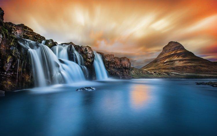 озеро, горы, природа, водопад, lake, mountains, nature, waterfall
