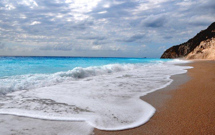 облака, волны, пейзаж, море, скала, песок, пляж, горизонт, clouds, wave, landscape, sea, rock, sand, beach, horizon