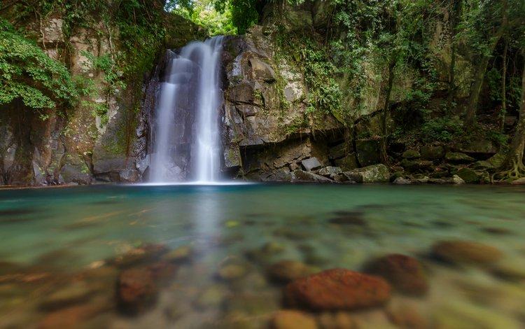 река, скалы, природа, водопад, филипины, cumon, malinao, albay, george qua, vera falls, river, rocks, nature, waterfall, philippines