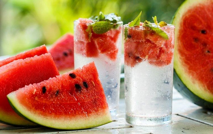 мята, напиток, арбуз, стаканы, mint, drink, watermelon, glasses
