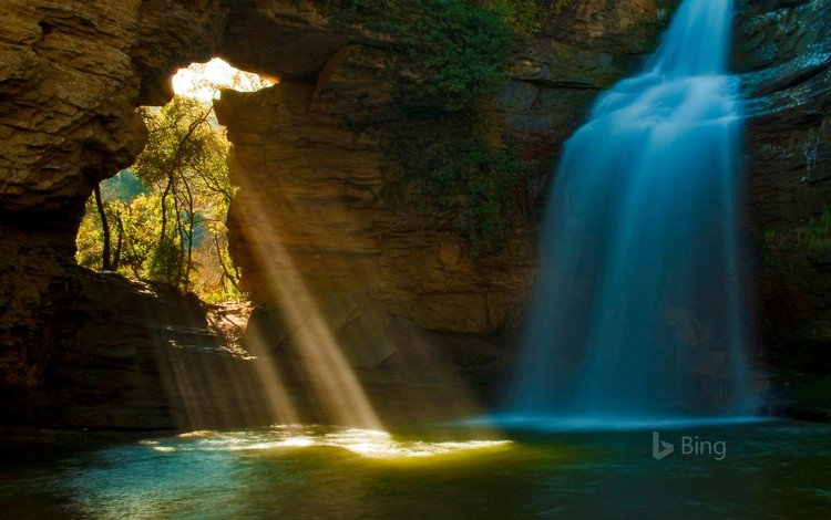 река, скала, водопад, пещера, испания, bing, каталония, river, rock, waterfall, cave, spain, catalonia