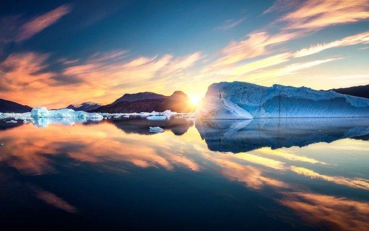 восход, солнце, пейзаж, море, лёд, льды, гренландия, sunrise, the sun, landscape, sea, ice, greenland