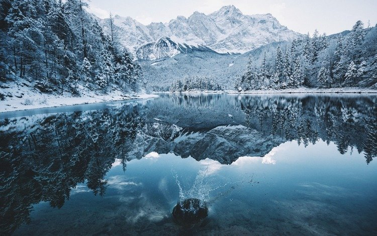 озеро, горы, природа, лес, зима, отражение, lake, mountains, nature, forest, winter, reflection