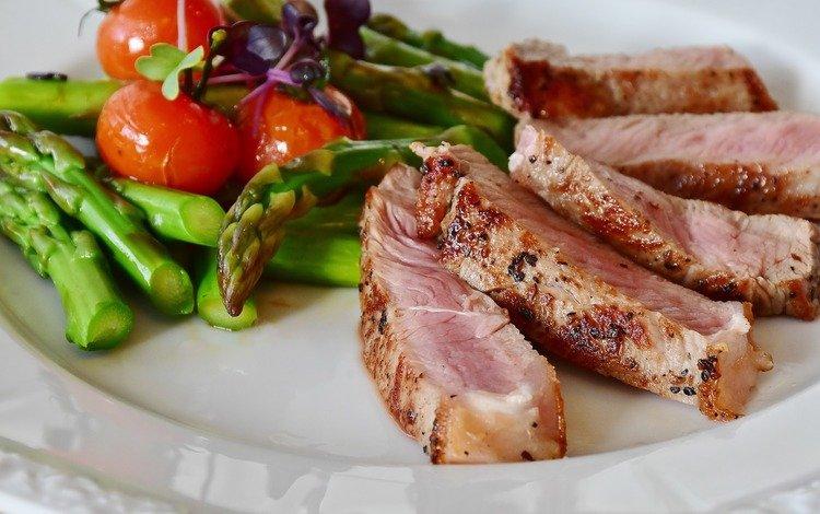 овощи, мясо, помидоры, спаржа, стейк, vegetables, meat, tomatoes, asparagus, steak