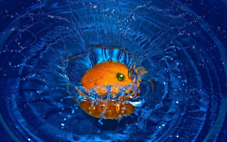 вода, фрукты, брызги, апельсин, всплеск, water, fruit, squirt, orange, splash