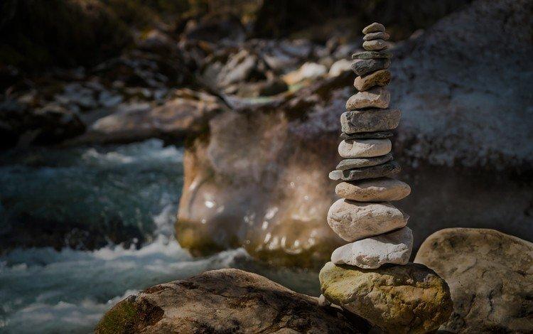 вода, камушки, река, природа, камни, лес, пейзаж, башня, пирамида, water, river, nature, stones, forest, landscape, tower, pyramid