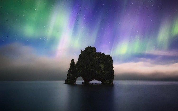 ночь, пейзаж, море, скала, северное сияние, арка, арктика, night, landscape, sea, rock, northern lights, arch, arctic