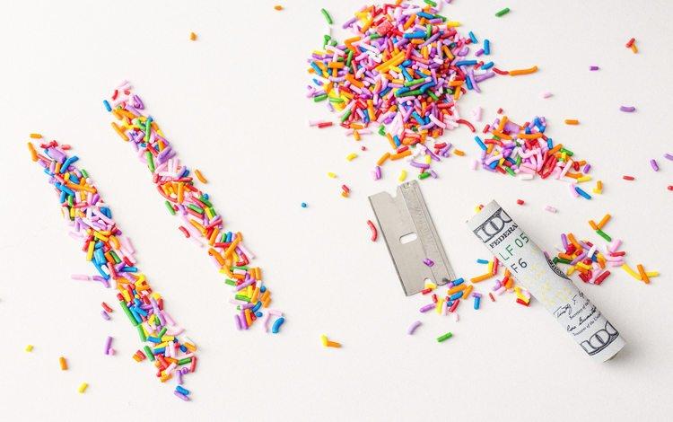разноцветные, конфеты, деньги, сладкое, посыпка, colorful, candy, money, sweet, topping