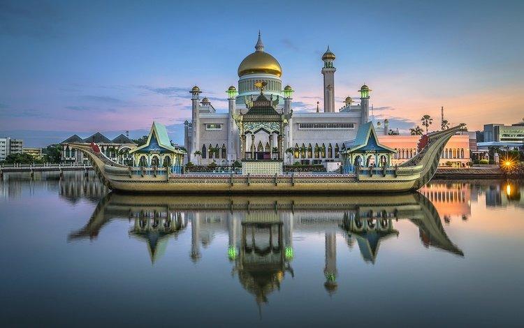 water, reflection, asia, mosque, royal mosque, brunei, sultan omar ali saifuddin mosque, bandar seri begawan