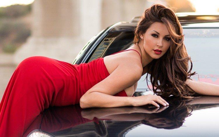 модель, автомобиль, красное платье, фотосессия, длинные волосы, melyssa grace, мелисса грейс, model, car, red dress, photoshoot, long hair, melissa grace