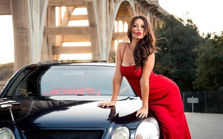 девушка, модель, автомобиль, красное платье, декольте, melyssa grace, мелисса грейс, girl, model, car, red dress, neckline, melissa grace